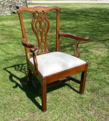 Image of Georgian Chippendale mahogany arm chair c1800