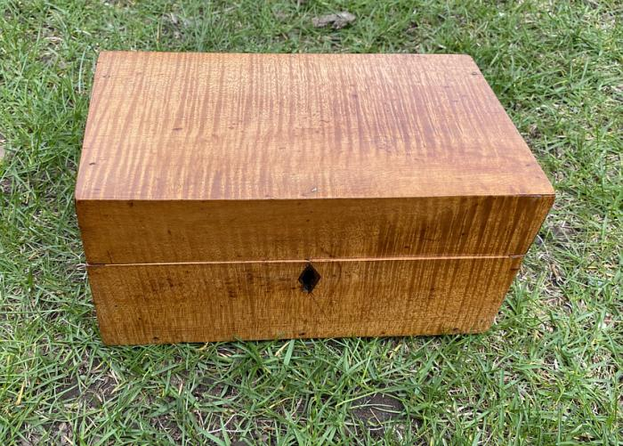 Early small tiger maple box c1800