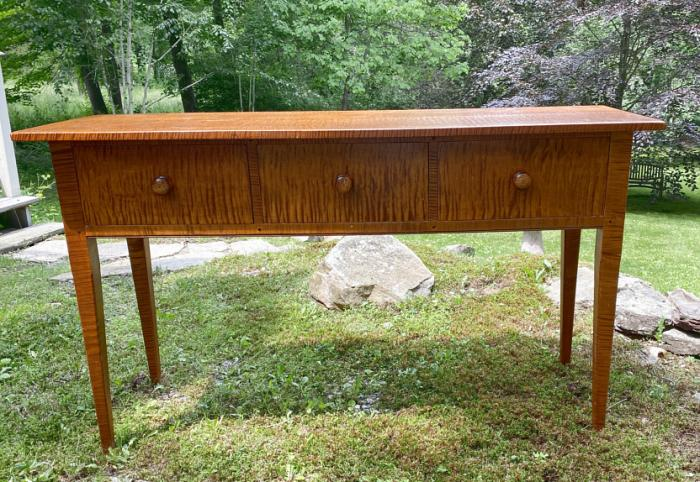 Tiger maple sideboard in country New England style