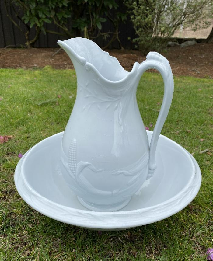 Wedgwood ironstone pitcher and bowl c1850
