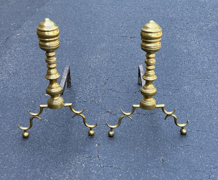 Early American brass beehive andirons c1825