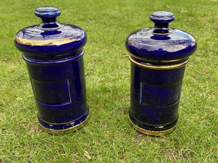 Luneville France porcelain apothecary jars c1890
