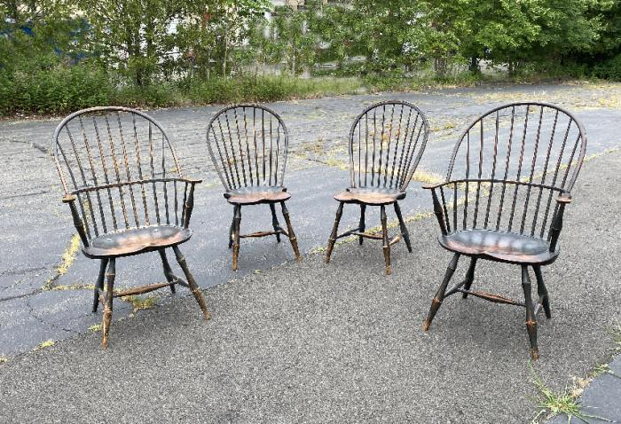 Set 4 D R Dimes Windsor chairs in black paint