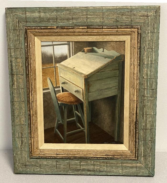 Oil painting of Shaker desk by Paul Lipp New Haven CT