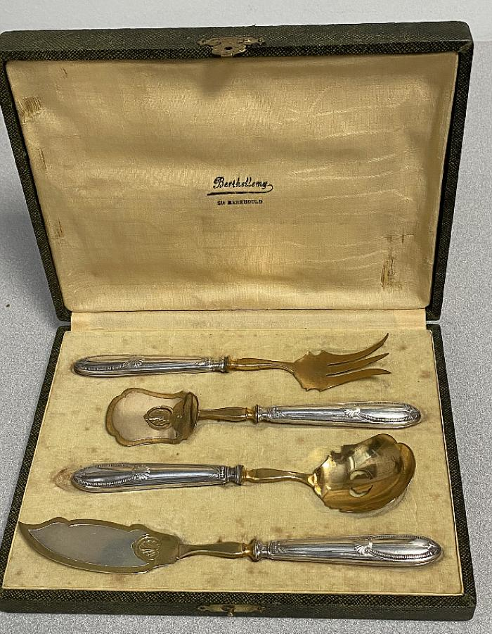 Vintage serving set in sterling and gold