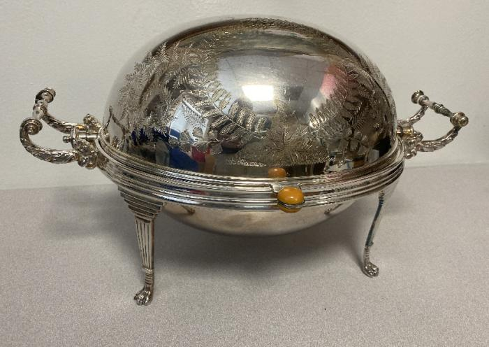 English silver plate roll top chafing dish
