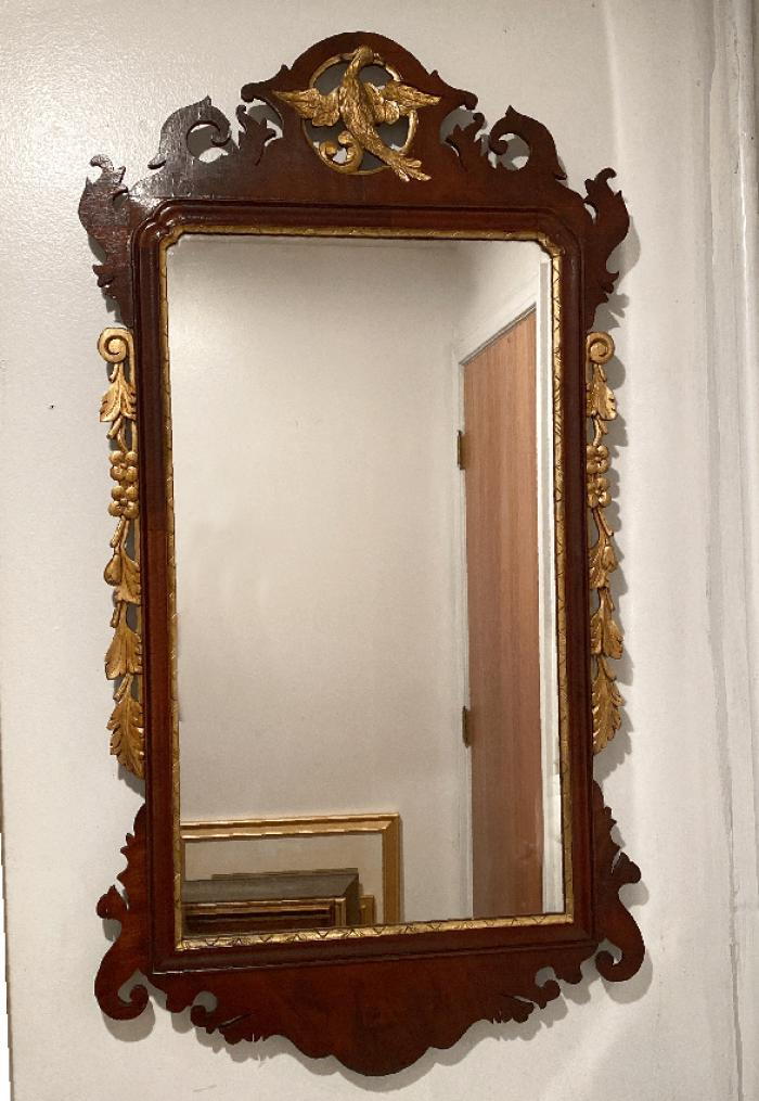 Chippendale style mirror with carved eagle c1900