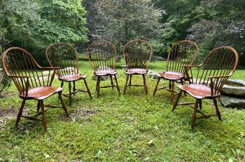 Image of Set of six DR Dimes Windsor dining chairs 2 arm 4 sides