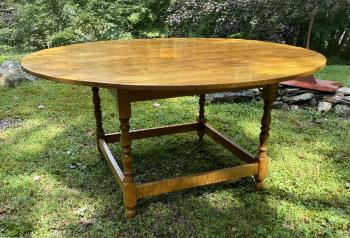 Image of Solid tiger maple round dining table  by J L Treharn