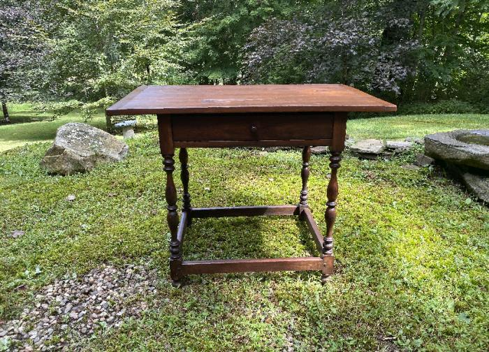 Vintage Stickley pine tavern table with drawer