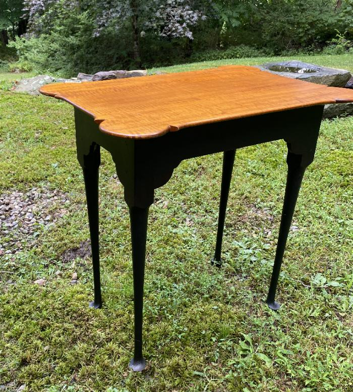 J L Treharn tiger maple table with black base