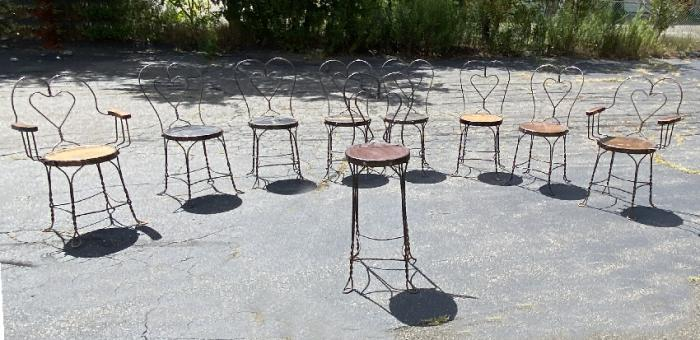 Original antique French ice cream parlor chairs