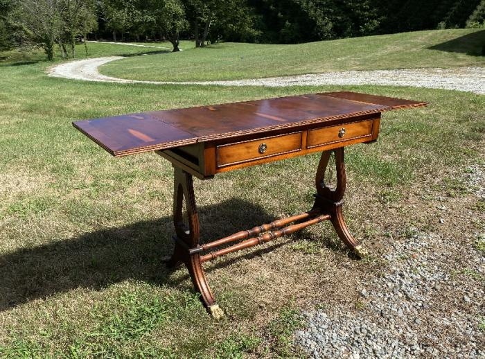 English Regency style yew wood library table