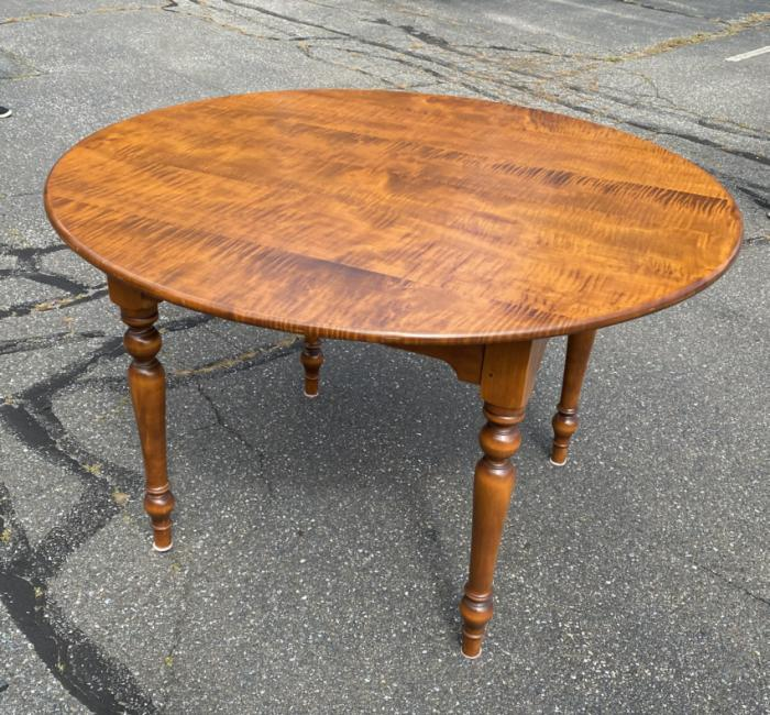 D R Dimes round tiger maple table