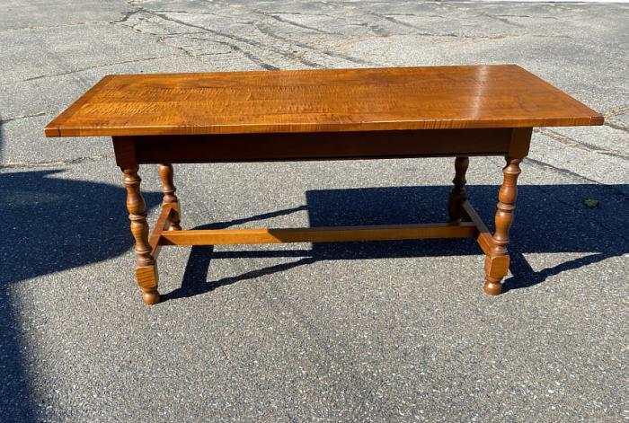 Tiger maple coffee table by Eldred Wheeler