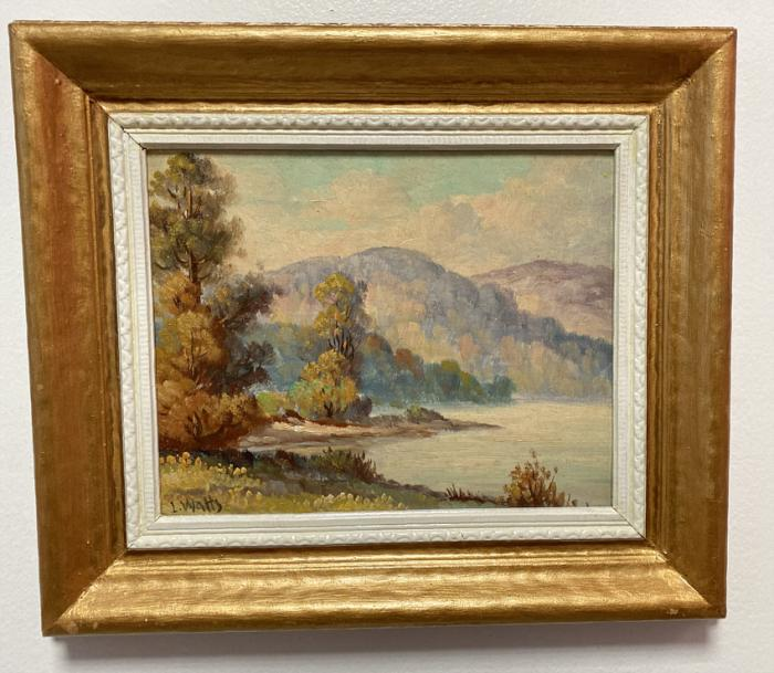 L Watts impressionist landscape oil painting autumn lake