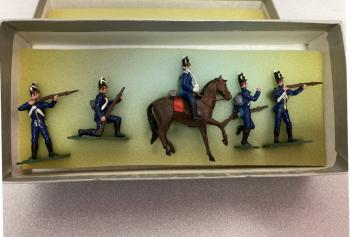 Image of Vintage set of 5 American painted lead soldiers for War of 1812