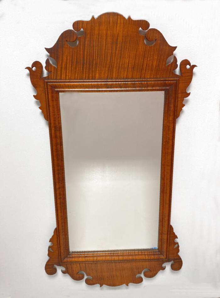 Eldred Wheeler tiger maple Chippendale style mirror