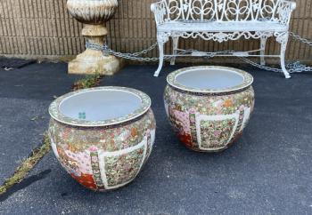 Image of Large pair Chinese export fish bowl planters