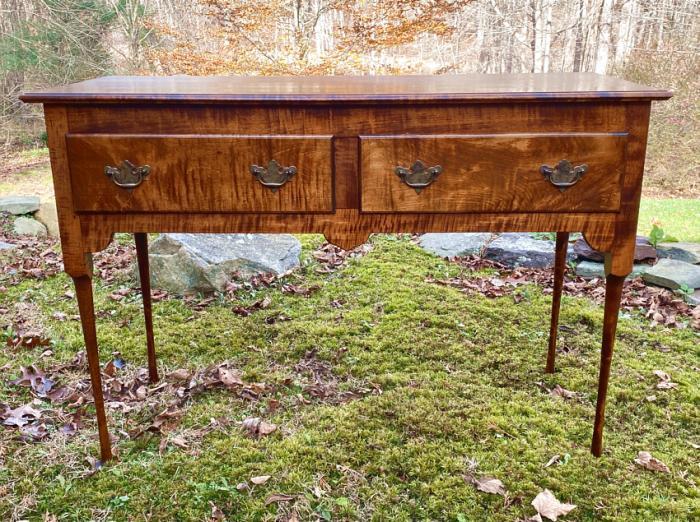 Vintage handmade tiger maple server