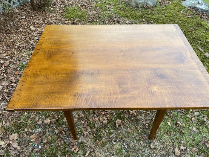 Vintage tiger maple country kitchen table hand crafted