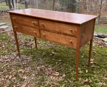 Image of Vintage sideboard in solid tiger maple with 4 drawers