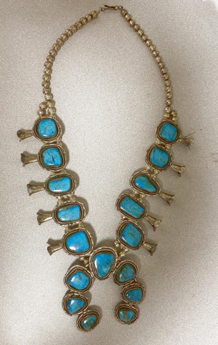 Vintage Navajo turquoise squash blossom necklace AIT