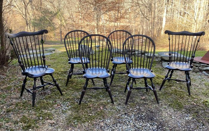 Vintage Ashlen black Windsor chairs set of six