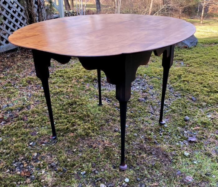 Vintage tiger maple kitchen dining table c1990