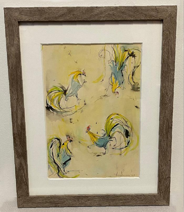 Audrey Swanson watercolor of roosters