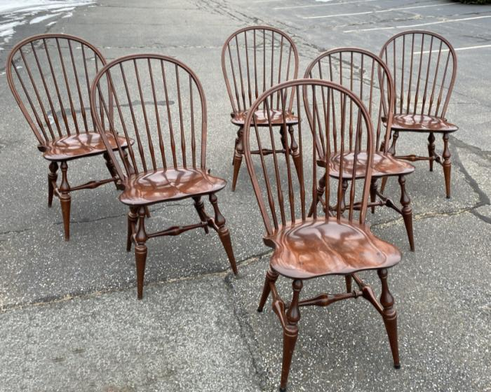 E R Buck six Windsor maple chairs c1980