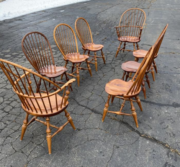 Vintage set 8 D R Dimes Windsor chairs