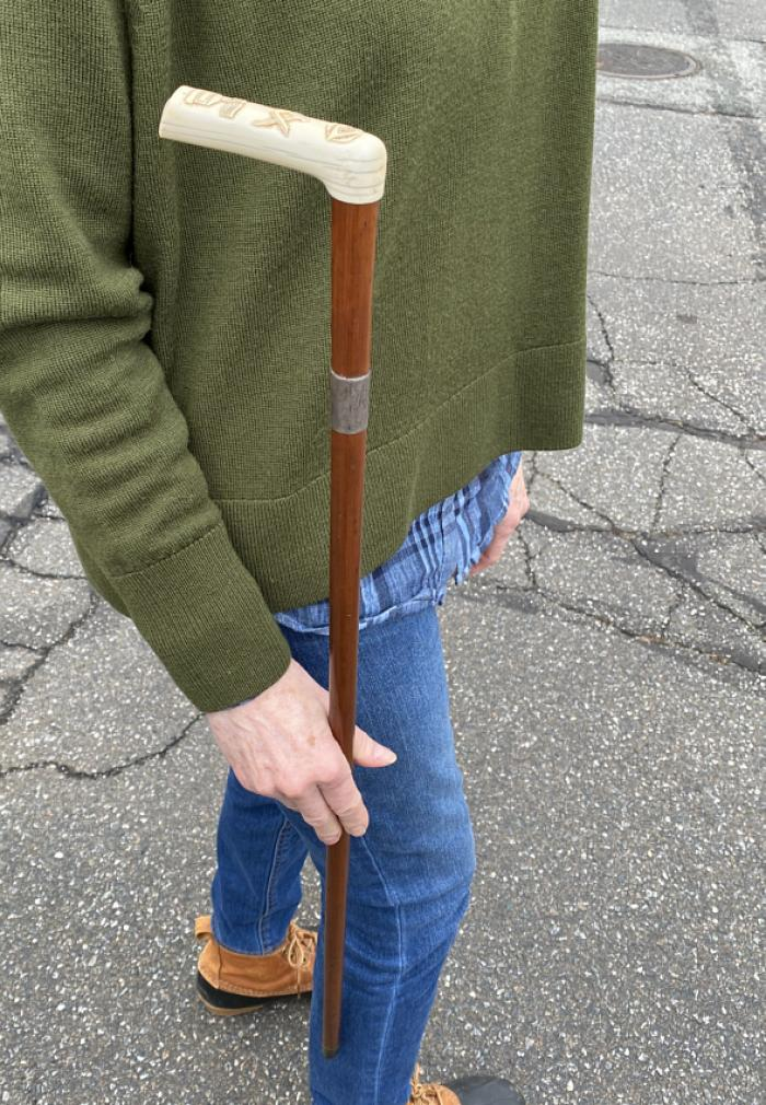 RARE Masonic walking stick with pipe tools in handle