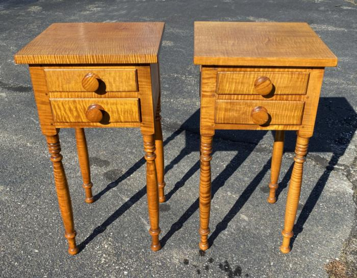 RARE diminutive pair of tiger maple night stands