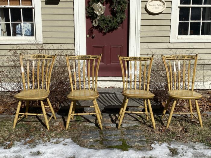 Original paint arrow back chairs c1820