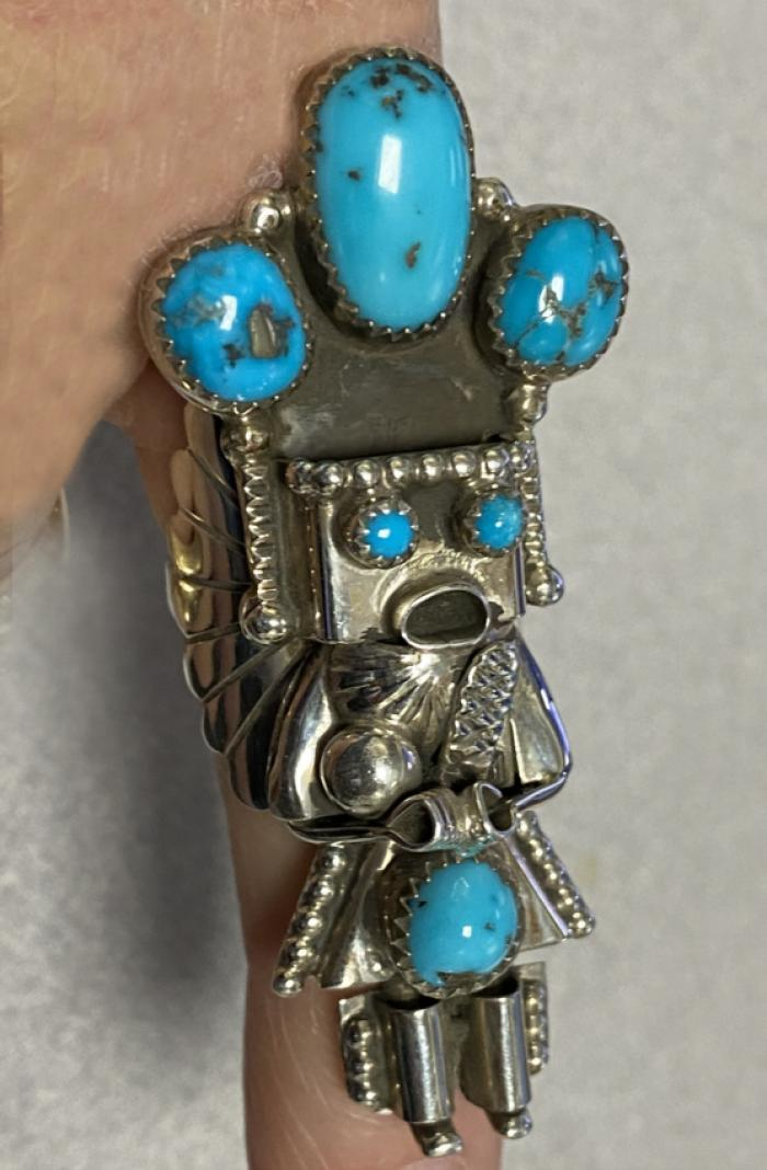 Navajo sterling kachina ring by Doris Small Canyon