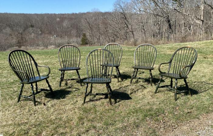 Keystone Collection Windsor chairs in antique green
