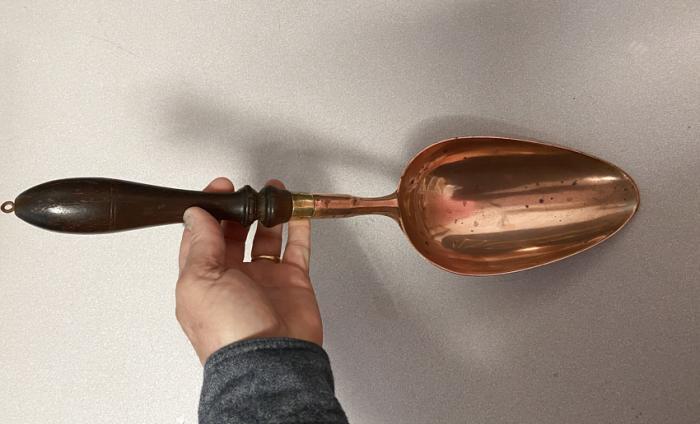 19thc large copper grain spoon