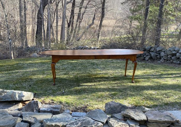 D R Dimes tiger maple oval dining table