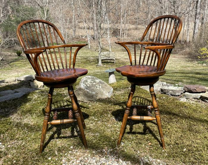 Titchmars and Goodwin elm bar stools or island chairs