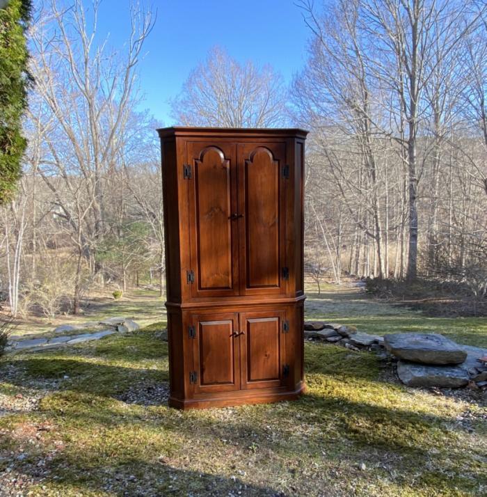 D R Dimes pumpkin pine corner cupboard