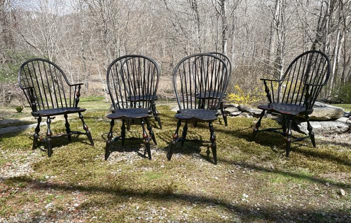 D R Dimes bamboo Windsor chairs in black