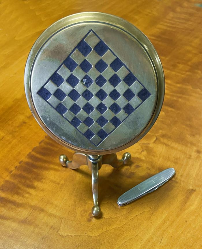 Antique English brass tabletop candle reflector