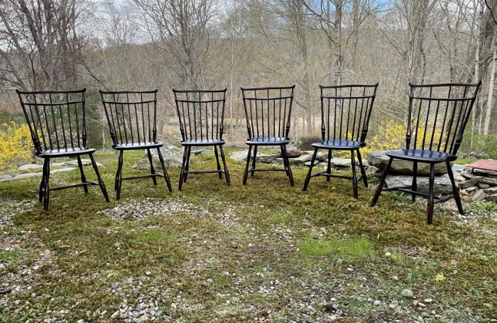D R Dimes birdcage Windsor chairs in black paint