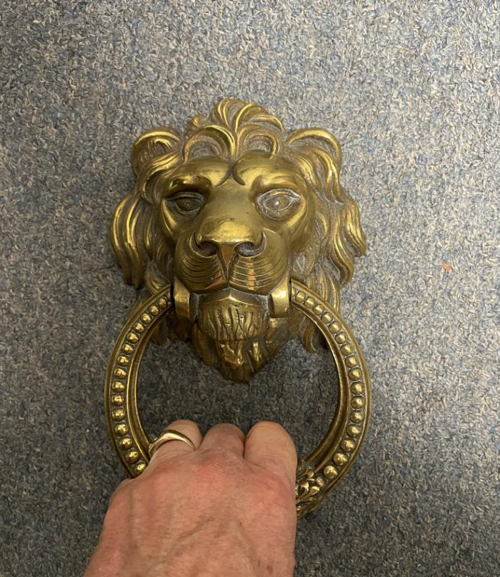 19thc brass lion door knocker