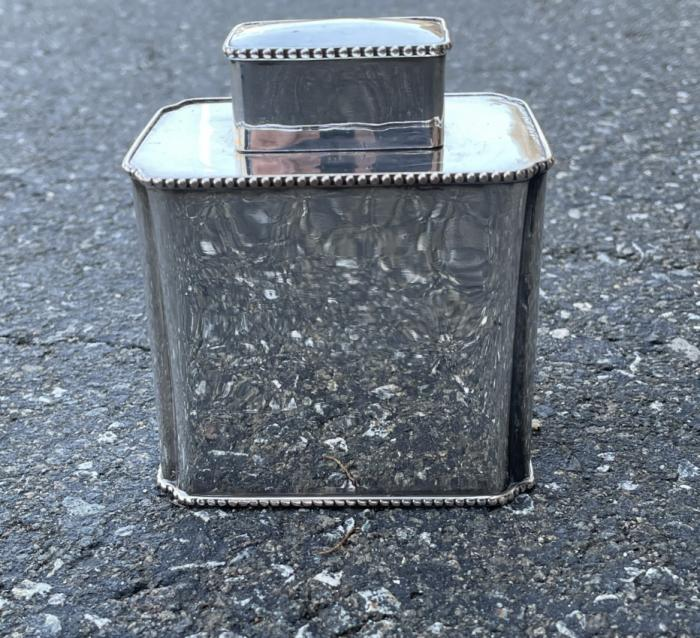 Vintage silver plated tea caddy