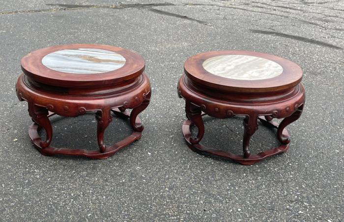 Chinese rosewood inset marble stands