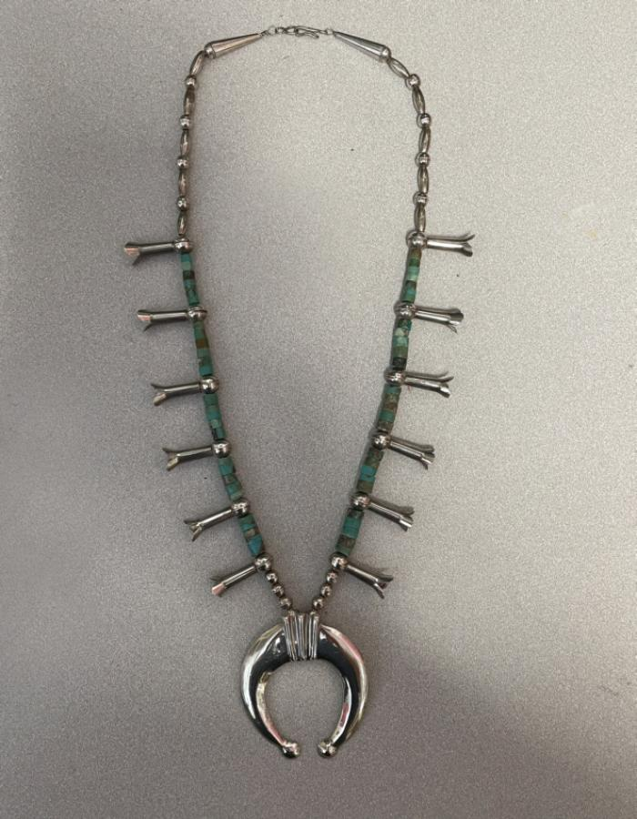 Navajo squash blossom necklace with turquoise signed MUZ