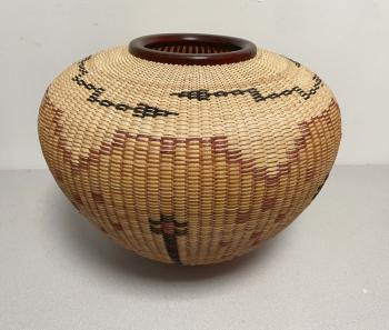 Image of Native American Rain Dance basket by Joan Brink 2000