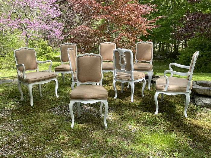 Country French dining chairs in white paint